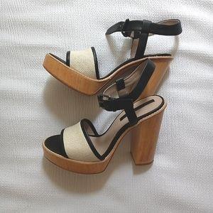 Zara - 💋 Wooden Chunky High Heel Platform Sandals size 39 / 8